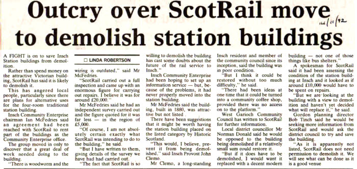 Newspaper article 14th Nov 1992