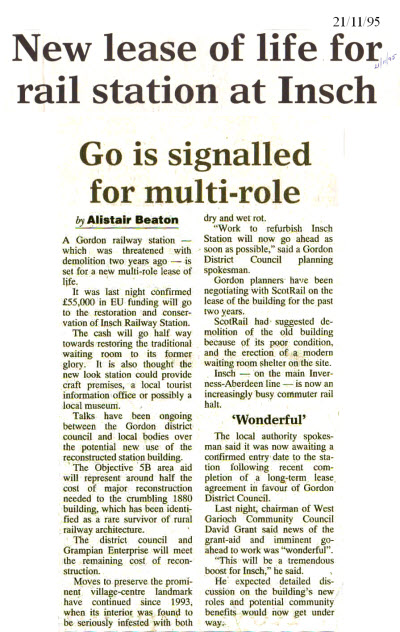 Newspaper article 21st Nov 1995