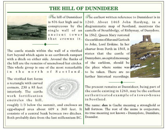 A display board featuring Dunnydeer Hill and Fort